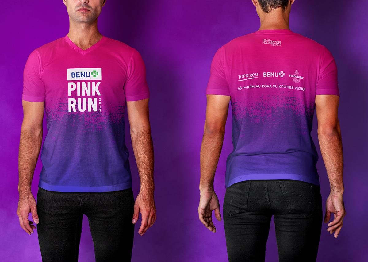 Pink Run su BENU marškinėliai